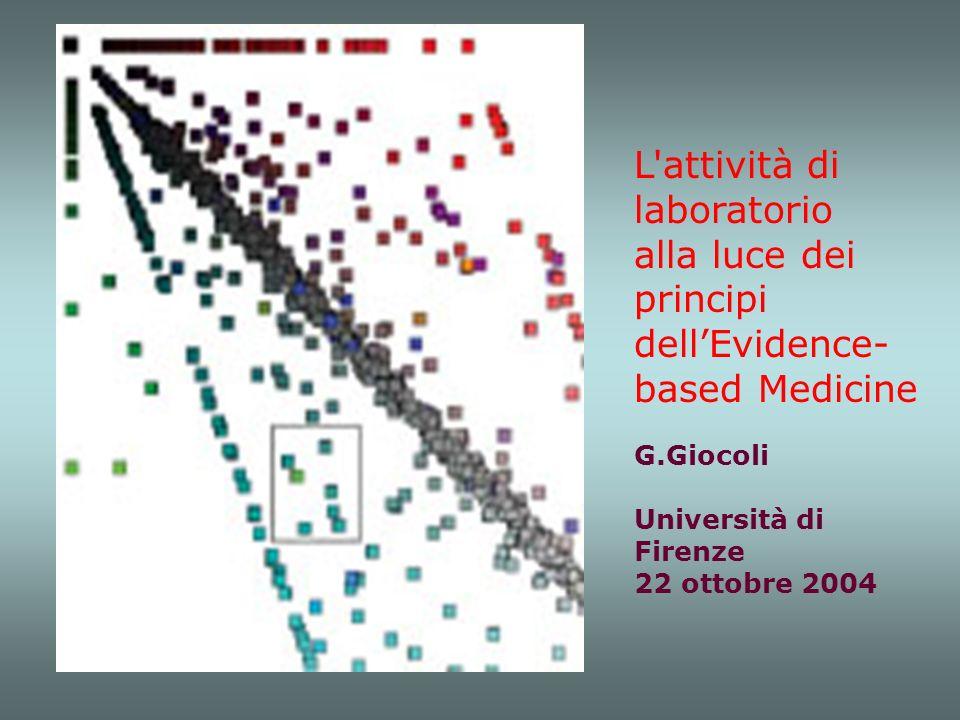 L'attività di laboratorio alla luce dei principi dellEvidence- based Medicine G.Giocoli Università di Firenze 22 ottobre 2004