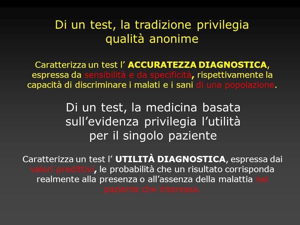 Caratterizza un test l ACCURATEZZA DIAGNOSTICA, espressa da sensibilità e da specificità, rispettivamente la capacità di discriminare i malati e i san