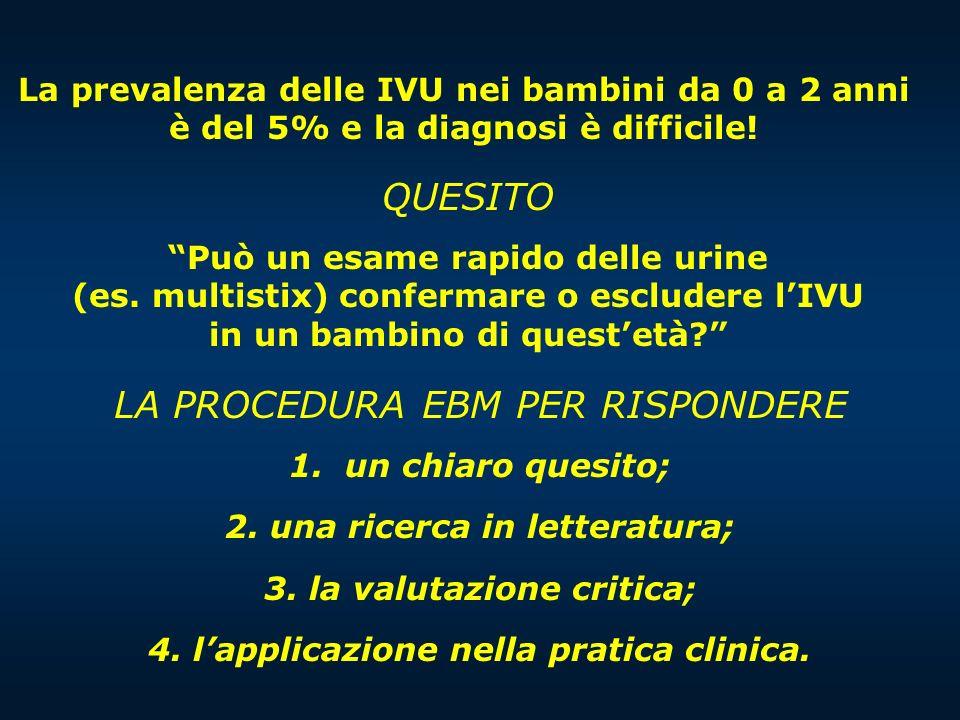 QUESITO Può un esame rapido delle urine (es. multistix) confermare o escludere lIVU in un bambino di questetà? LA PROCEDURA EBM PER RISPONDERE 1. un c
