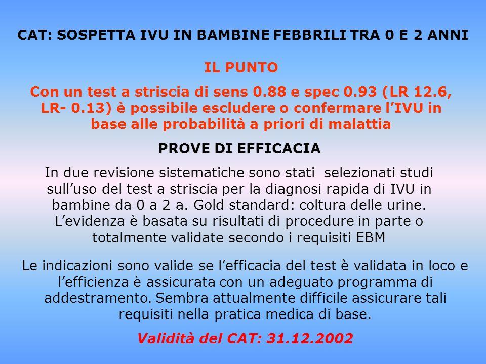 CAT: SOSPETTA IVU IN BAMBINE FEBBRILI TRA 0 E 2 ANNI IL PUNTO Con un test a striscia di sens 0.88 e spec 0.93 (LR 12.6, LR- 0.13) è possibile escluder