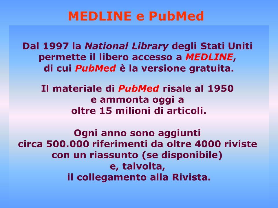 introduzione dei termini per la ricerca selezione dei Medical Subject Headings MEDLINE e PubMed Dal 1997 la National Library degli Stati Uniti permett