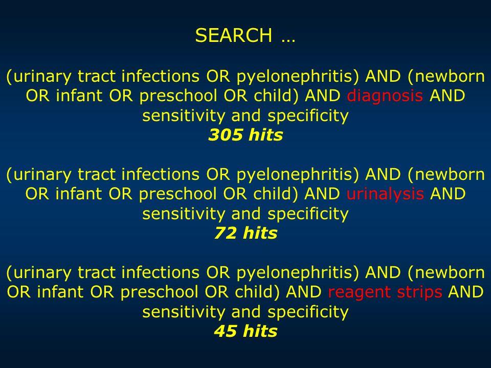 CAT: SOSPETTA IVU IN BAMBINE FEBBRILI TRA 0 E 2 ANNI IL PUNTO Con un test a striscia di sens 0.88 e spec 0.93 (LR 12.6, LR- 0.13) è possibile escludere o confermare lIVU in base alle probabilità a priori di malattia PROVE DI EFFICACIA In due revisione sistematiche sono stati selezionati studi sulluso del test a striscia per la diagnosi rapida di IVU in bambine da 0 a 2 a.