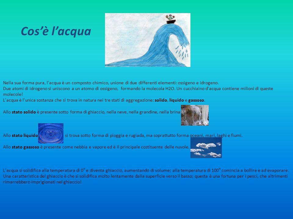 Cosè lacqua Nella sua forma pura, l'acqua è un composto chimico, unione di due differenti elementi: ossigeno e idrogeno. Due atomi di idrogeno si unis