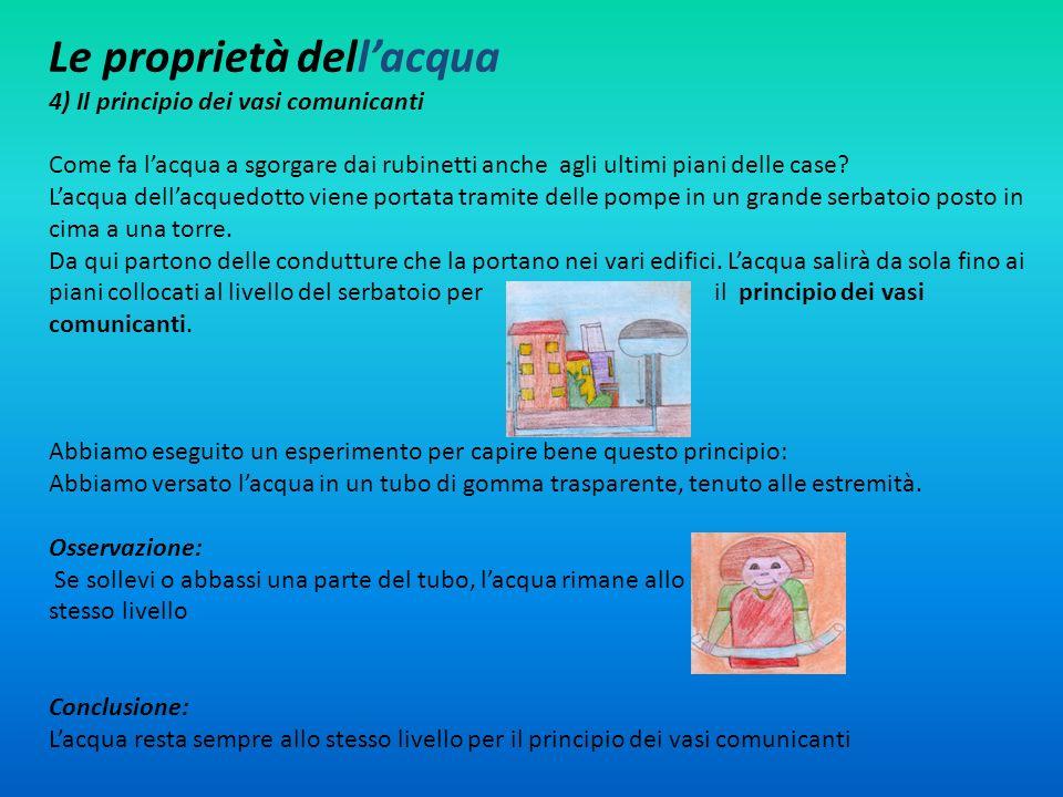 Le proprietà dellacqua 4) Il principio dei vasi comunicanti Come fa lacqua a sgorgare dai rubinetti anche agli ultimi piani delle case? Lacqua dellacq