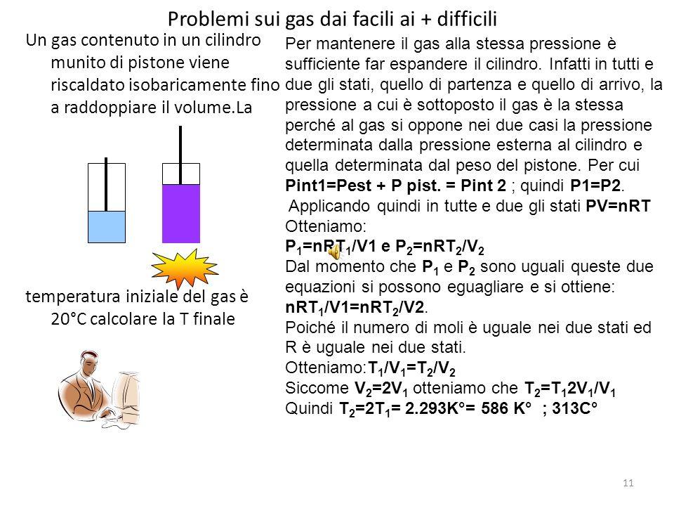 11 Problemi sui gas dai facili ai + difficili Un gas contenuto in un cilindro munito di pistone viene riscaldato isobaricamente fino a raddoppiare il