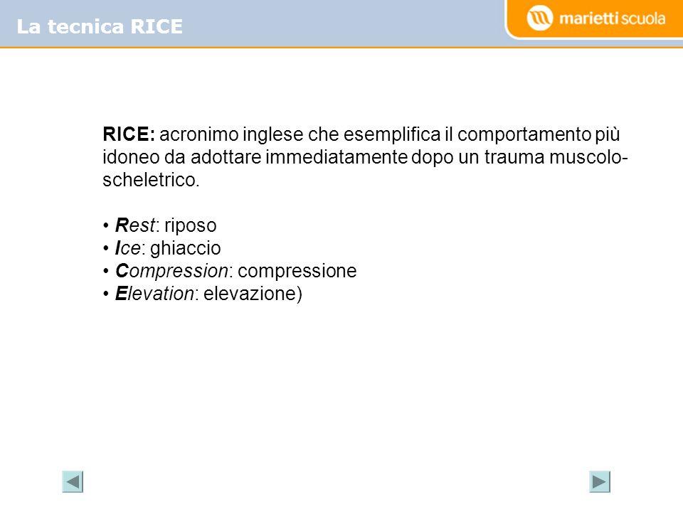 La tecnica RICE RICE: acronimo inglese che esemplifica il comportamento più idoneo da adottare immediatamente dopo un trauma muscolo- scheletrico. Res