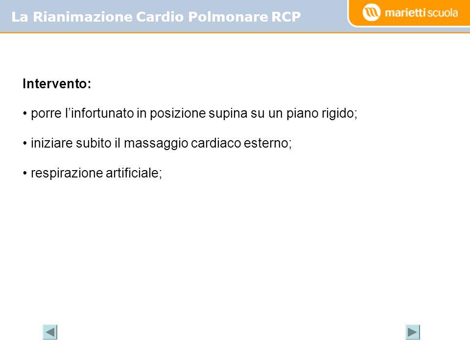 La Rianimazione Cardio Polmonare RCP Intervento: porre linfortunato in posizione supina su un piano rigido; iniziare subito il massaggio cardiaco este
