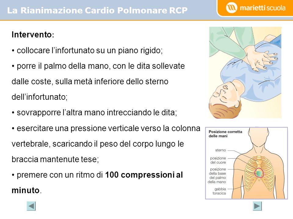 La Rianimazione Cardio Polmonare RCP Intervento : collocare linfortunato su un piano rigido; porre il palmo della mano, con le dita sollevate dalle co