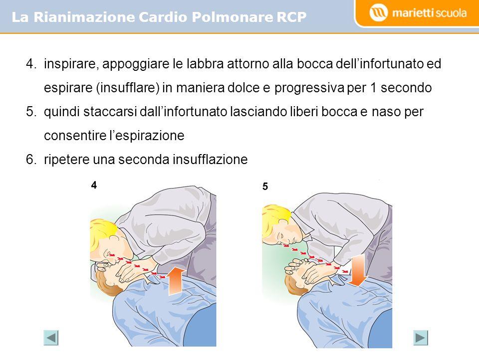 La Rianimazione Cardio Polmonare RCP 4.inspirare, appoggiare le labbra attorno alla bocca dellinfortunato ed espirare (insufflare) in maniera dolce e