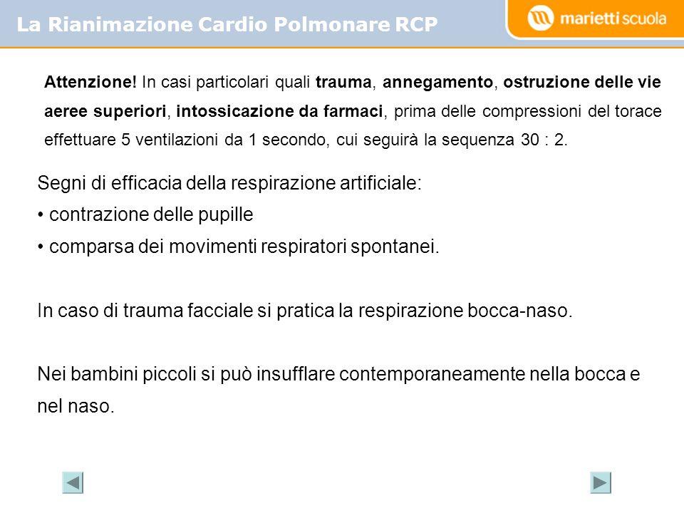 La Rianimazione Cardio Polmonare RCP Segni di efficacia della respirazione artificiale: contrazione delle pupille comparsa dei movimenti respiratori s