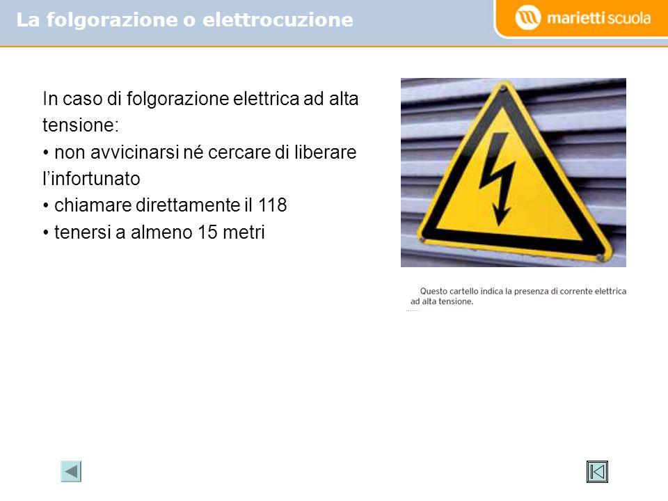 La folgorazione o elettrocuzione In caso di folgorazione elettrica ad alta tensione: non avvicinarsi né cercare di liberare linfortunato chiamare dire