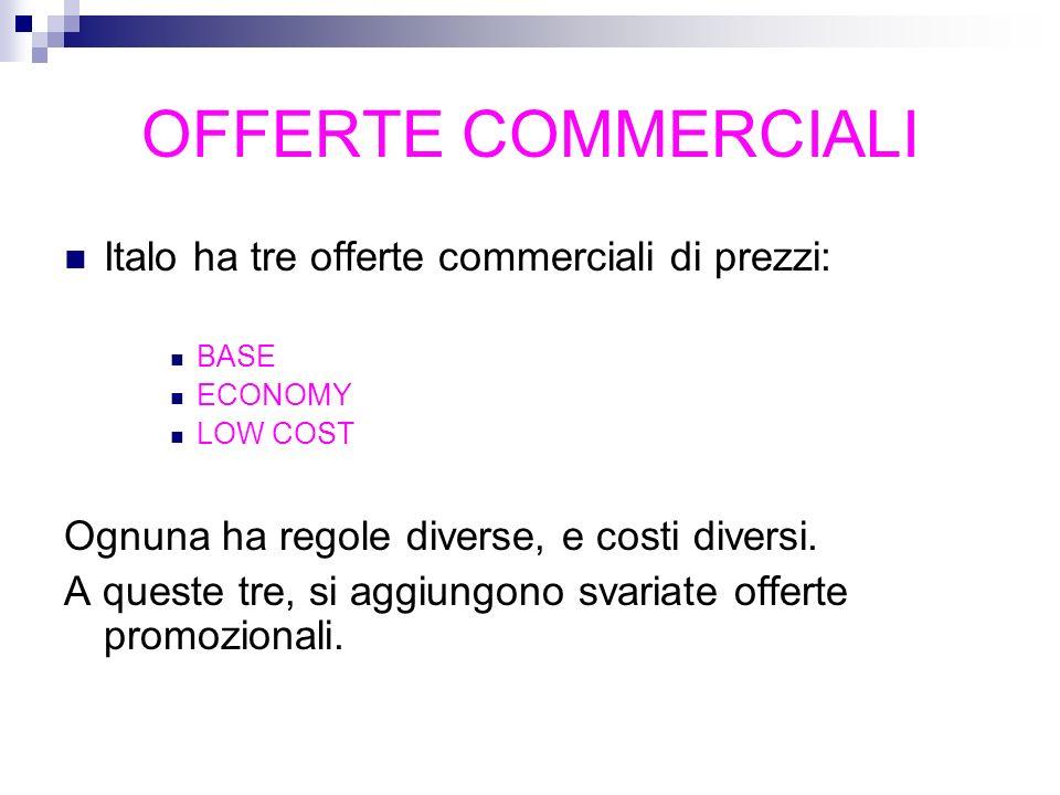 OFFERTE COMMERCIALI Italo ha tre offerte commerciali di prezzi: BASE ECONOMY LOW COST Ognuna ha regole diverse, e costi diversi. A queste tre, si aggi