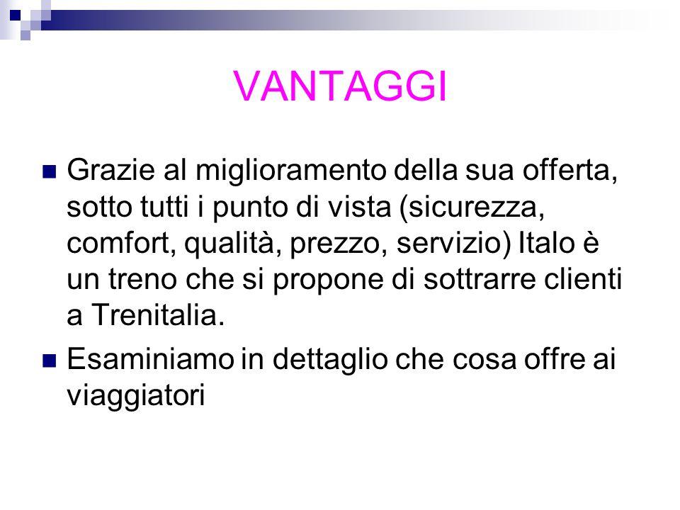 VANTAGGI Grazie al miglioramento della sua offerta, sotto tutti i punto di vista (sicurezza, comfort, qualità, prezzo, servizio) Italo è un treno che