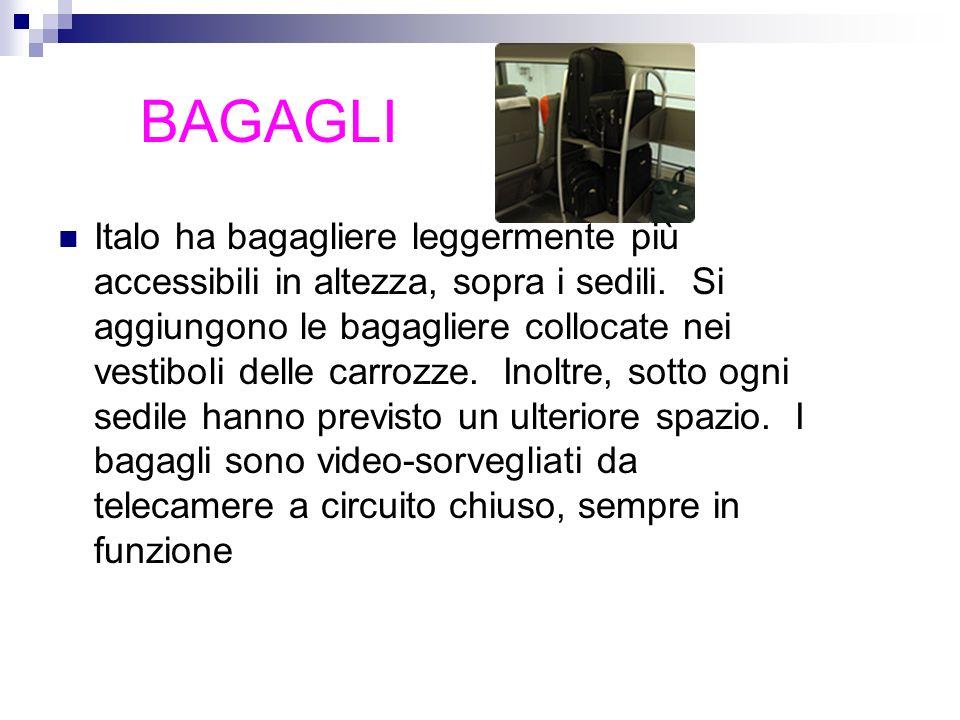 BAGAGLI Italo ha bagagliere leggermente più accessibili in altezza, sopra i sedili. Si aggiungono le bagagliere collocate nei vestiboli delle carrozze