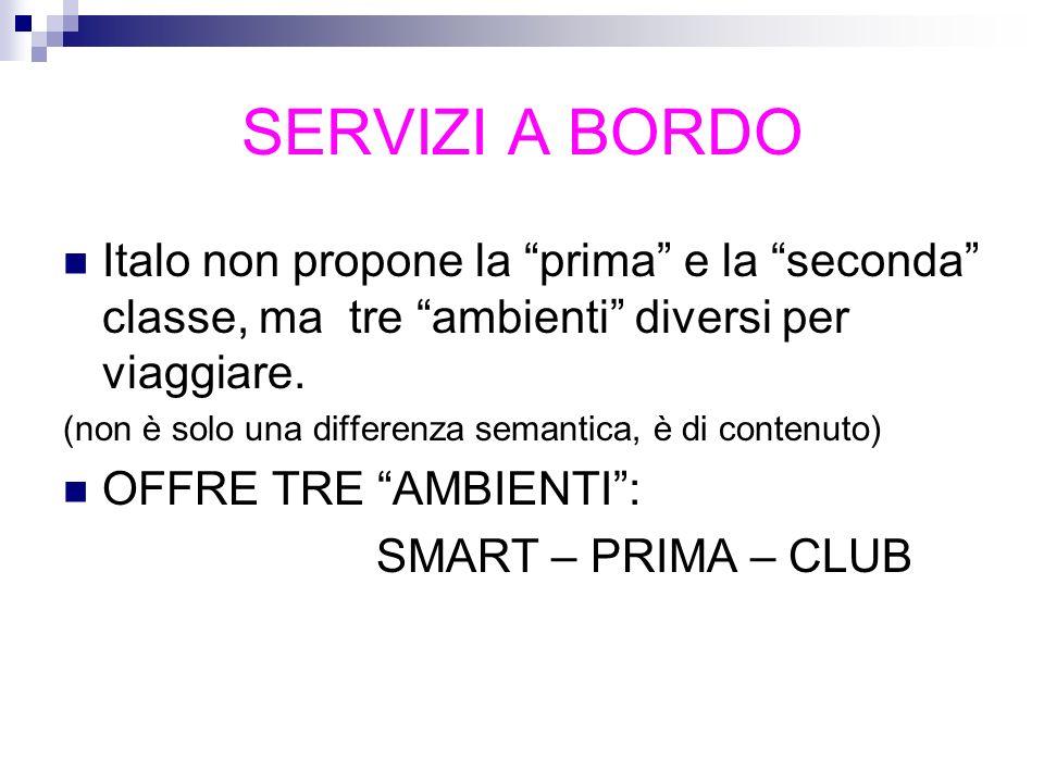 SERVIZI A BORDO Italo non propone la prima e la seconda classe, ma tre ambienti diversi per viaggiare. (non è solo una differenza semantica, è di cont
