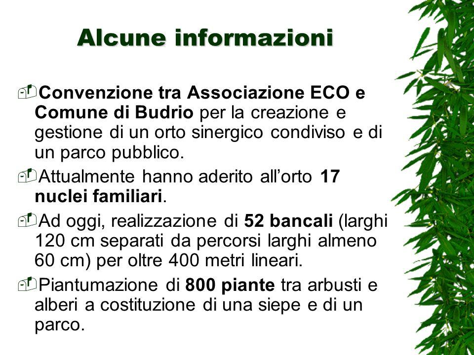 Alcune informazioni Convenzione tra Associazione ECO e Comune di Budrio per la creazione e gestione di un orto sinergico condiviso e di un parco pubblico.