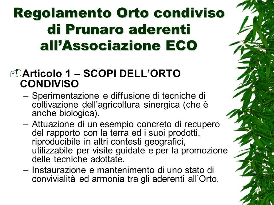 Regolamento Orto condiviso di Prunaro aderenti allAssociazione ECO Articolo 1 – SCOPI DELLORTO CONDIVISO –Sperimentazione e diffusione di tecniche di coltivazione dellagricoltura sinergica (che è anche biologica).