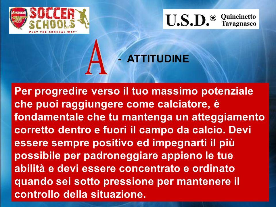 - ATTITUDINE Per progredire verso il tuo massimo potenziale che puoi raggiungere come calciatore, è fondamentale che tu mantenga un atteggiamento corretto dentro e fuori il campo da calcio.