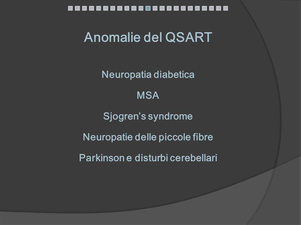 Anomalie del QSART Neuropatia diabetica MSA Sjogrens syndrome Neuropatie delle piccole fibre Parkinson e disturbi cerebellari