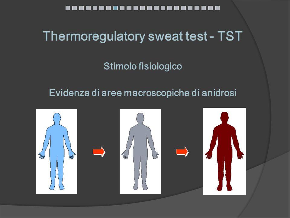Thermoregulatory sweat test - TST Evidenza di aree macroscopiche di anidrosi Stimolo fisiologico