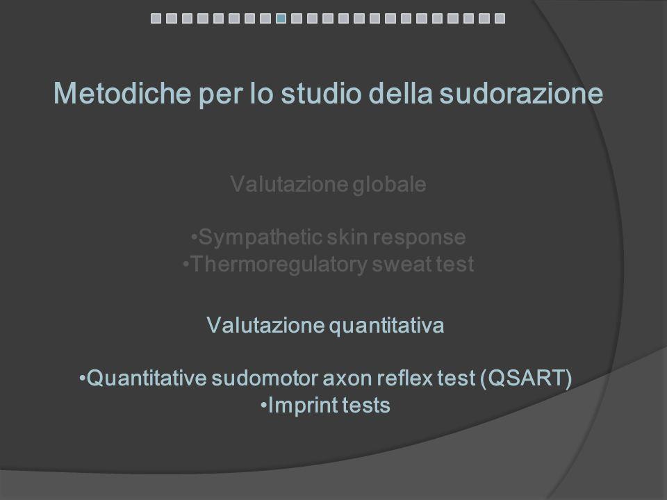 Valutazione globale Sympathetic skin response Thermoregulatory sweat test Metodiche per lo studio della sudorazione Valutazione quantitativa Quantitat