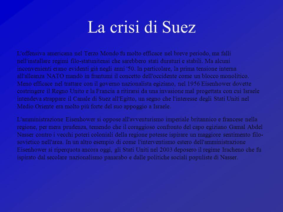 La crisi di Suez L'offensiva americana nel Terzo Mondo fu molto efficace nel breve periodo, ma falli nell'installare regimi filo-statunitensi che sare