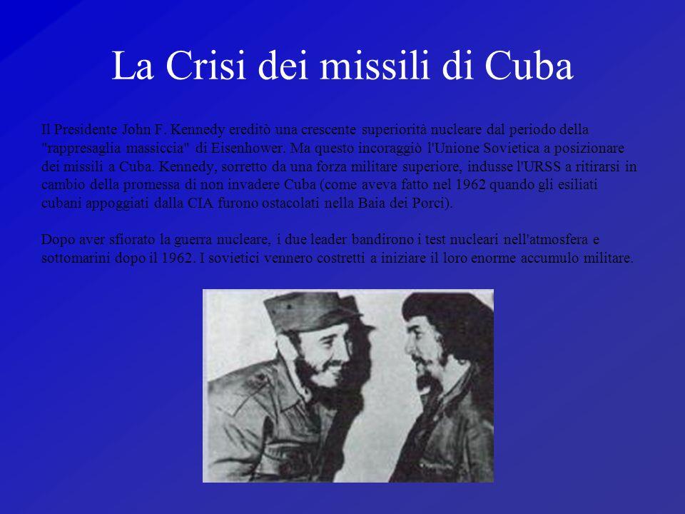 La Crisi dei missili di Cuba Il Presidente John F. Kennedy ereditò una crescente superiorità nucleare dal periodo della