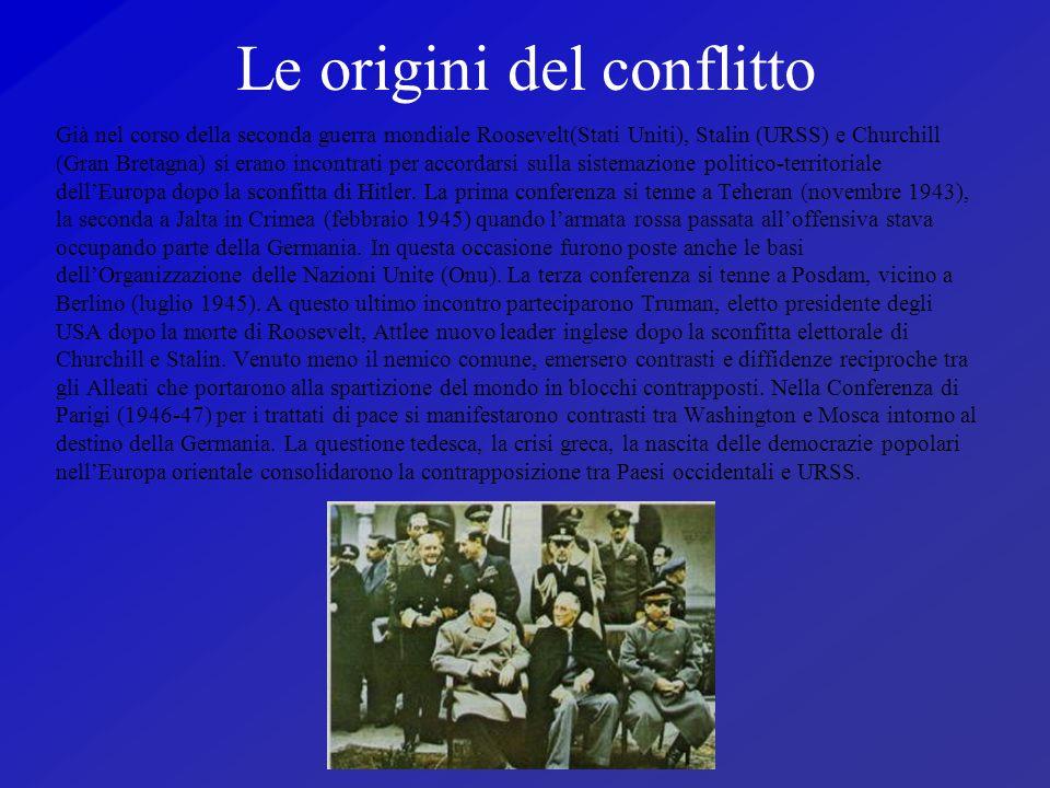 Le origini del conflitto Già nel corso della seconda guerra mondiale Roosevelt(Stati Uniti), Stalin (URSS) e Churchill (Gran Bretagna) si erano incont