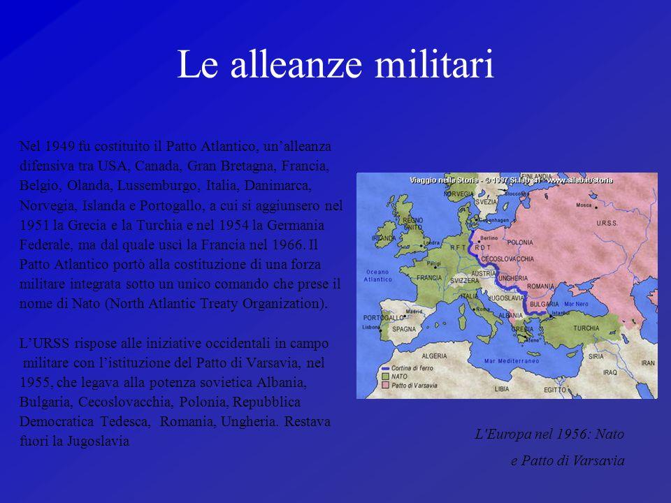Le alleanze militari Nel 1949 fu costituito il Patto Atlantico, unalleanza difensiva tra USA, Canada, Gran Bretagna, Francia, Belgio, Olanda, Lussembu