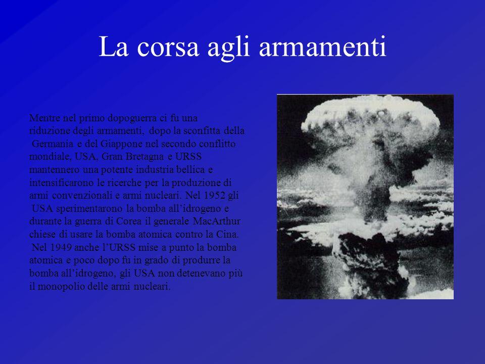 La corsa agli armamenti Mentre nel primo dopoguerra ci fu una riduzione degli armamenti, dopo la sconfitta della Germania e del Giappone nel secondo c