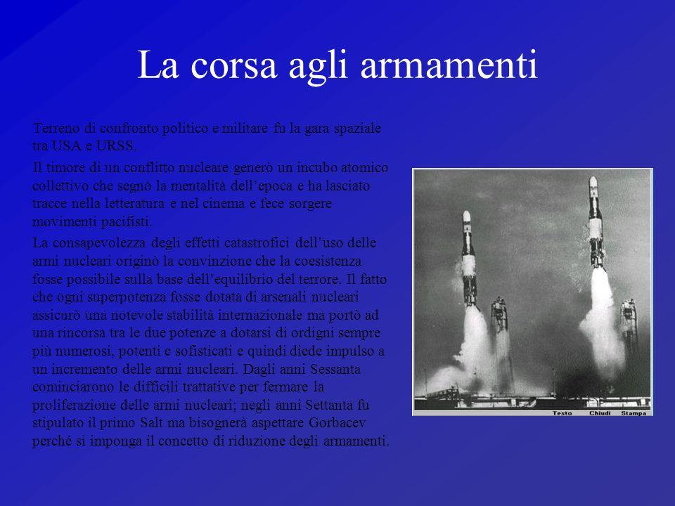 La corsa agli armamenti Terreno di confronto politico e militare fu la gara spaziale tra USA e URSS. Il timore di un conflitto nucleare generò un incu