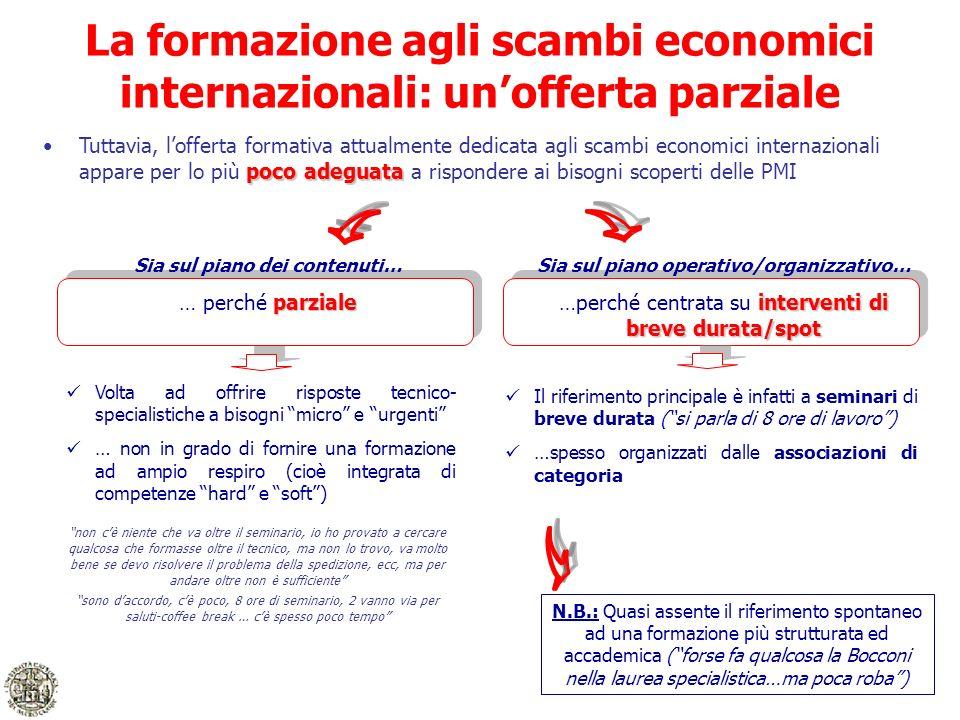 La formazione agli scambi economici internazionali: unofferta parziale poco adeguataTuttavia, lofferta formativa attualmente dedicata agli scambi econ