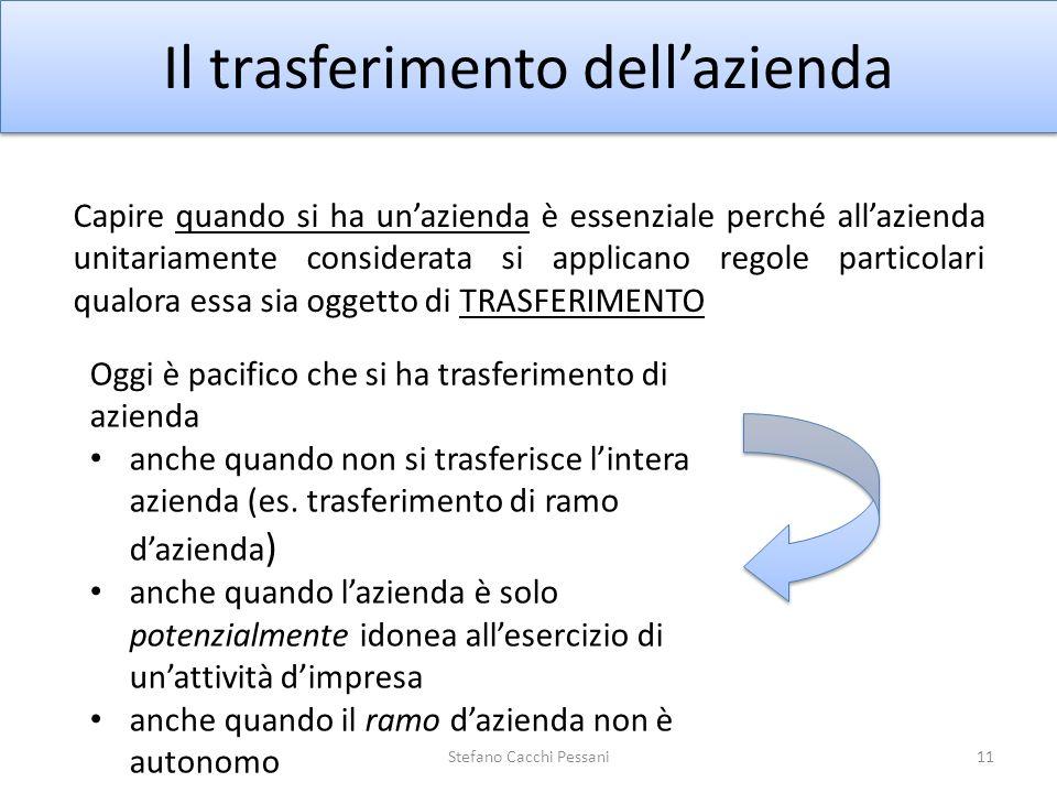 11 Il trasferimento dellazienda Capire quando si ha unazienda è essenziale perché allazienda unitariamente considerata si applicano regole particolari