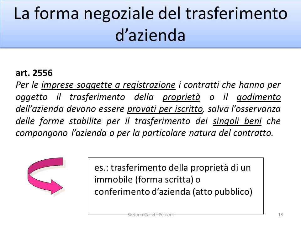 13 La forma negoziale del trasferimento dazienda art. 2556 Per le imprese soggette a registrazione i contratti che hanno per oggetto il trasferimento