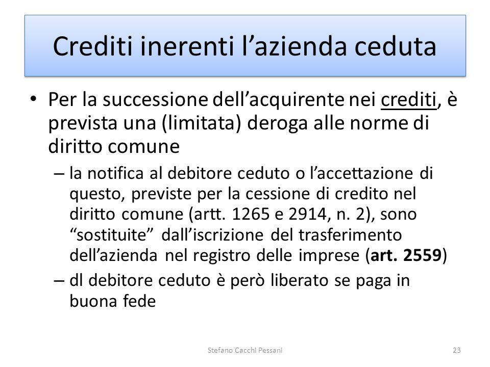 Per la successione dellacquirente nei crediti, è prevista una (limitata) deroga alle norme di diritto comune – la notifica al debitore ceduto o laccet