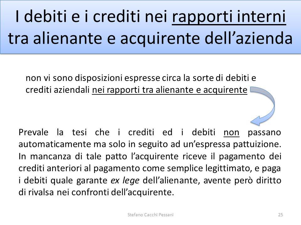 25 I debiti e i crediti nei rapporti interni tra alienante e acquirente dellazienda Prevale la tesi che i crediti ed i debiti non passano automaticame