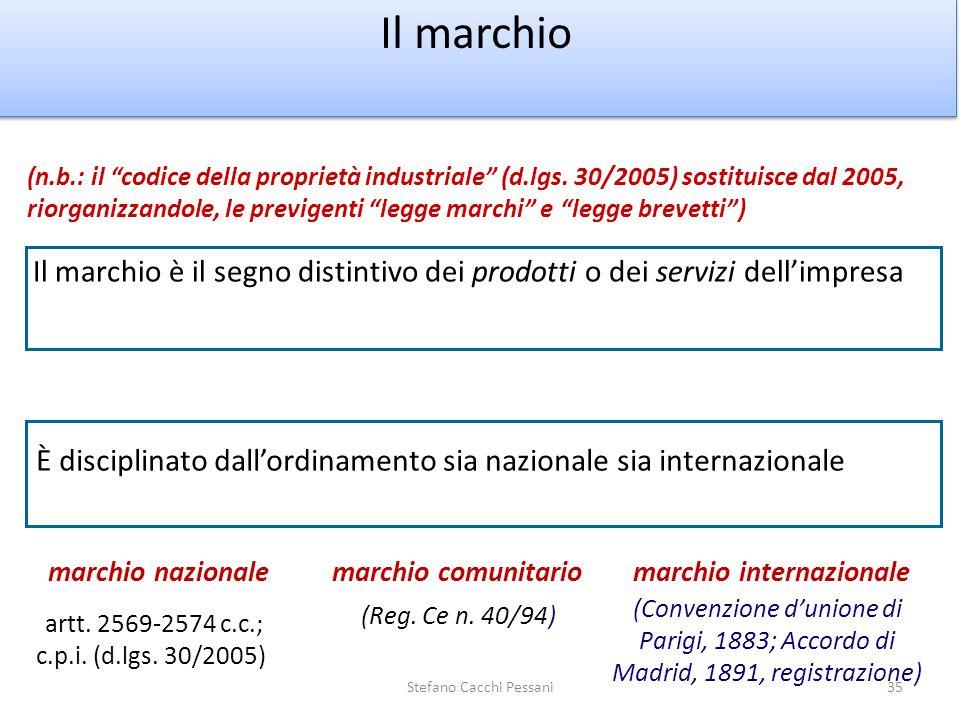 35 Il marchio Il marchio è il segno distintivo dei prodotti o dei servizi dellimpresa marchio nazionalemarchio internazionalemarchio comunitario (n.b.