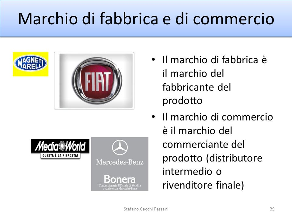 Marchio di fabbrica e di commercio Il marchio di fabbrica è il marchio del fabbricante del prodotto Il marchio di commercio è il marchio del commercia