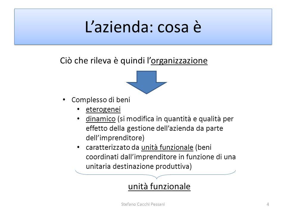 4 Lazienda: cosa è Ciò che rileva è quindi lorganizzazione Complesso di beni eterogenei dinamico (si modifica in quantità e qualità per effetto della