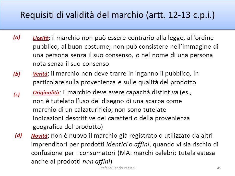 45 Requisiti di validità del marchio (artt. 12-13 c.p.i.) Liceità: il marchio non può essere contrario alla legge, allordine pubblico, al buon costume