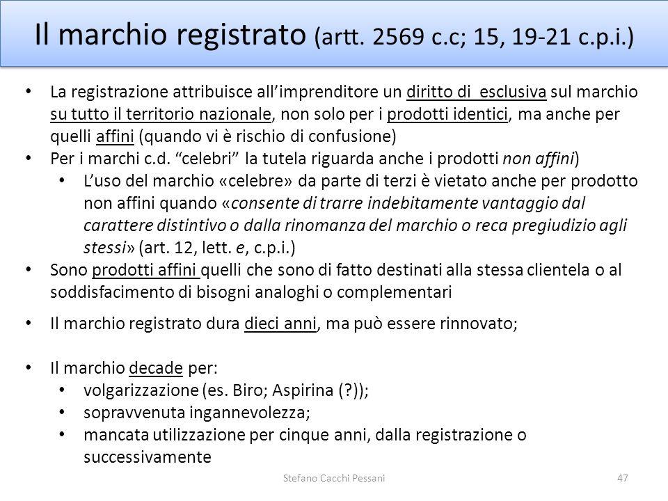 47 Il marchio registrato (artt. 2569 c.c; 15, 19-21 c.p.i.) Il marchio registrato dura dieci anni, ma può essere rinnovato; Il marchio decade per: vol