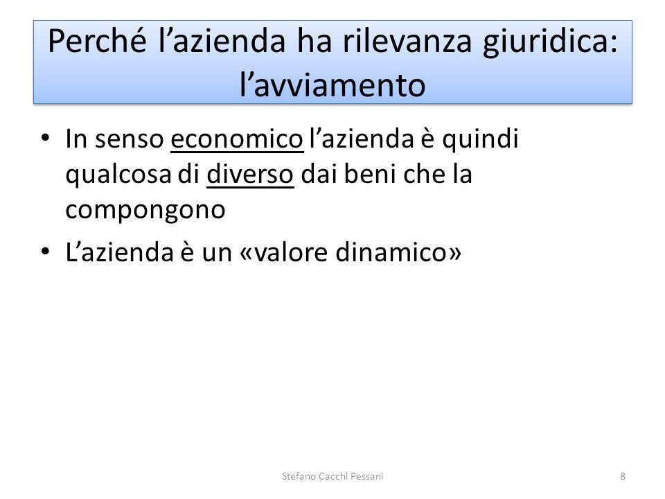 In senso economico lazienda è quindi qualcosa di diverso dai beni che la compongono Lazienda è un «valore dinamico» Stefano Cacchi Pessani8 Perché laz