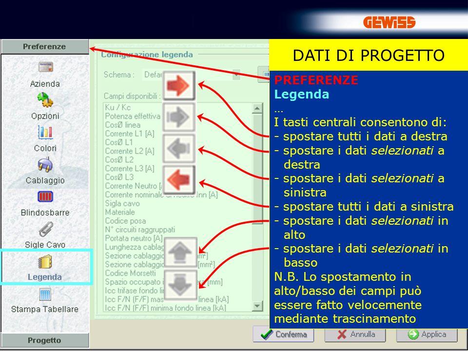 25 DATI DI PROGETTO PREFERENZE Legenda … I tasti centrali consentono di: - spostare tutti i dati a destra - spostare i dati selezionati a destra - spo
