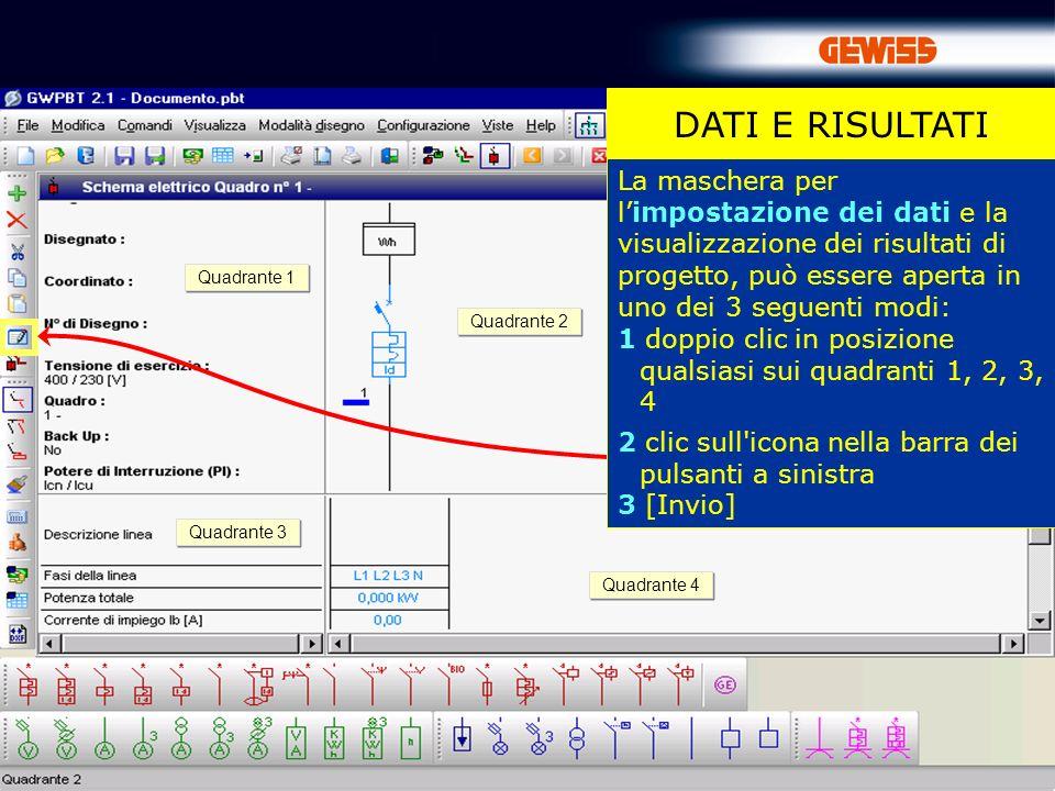 39 DATI E RISULTATI La maschera per limpostazione dei dati e la visualizzazione dei risultati di progetto, può essere aperta in uno dei 3 seguenti mod