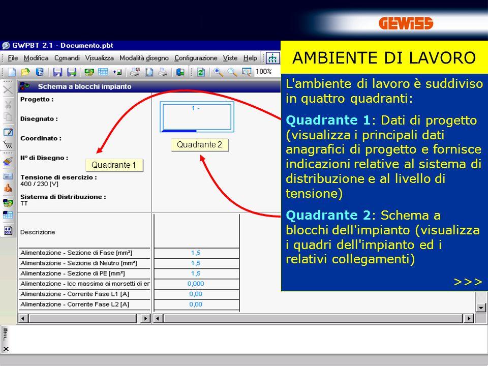4 AMBIENTE DI LAVORO L'ambiente di lavoro è suddiviso in quattro quadranti: Quadrante 1: Dati di progetto (visualizza i principali dati anagrafici di