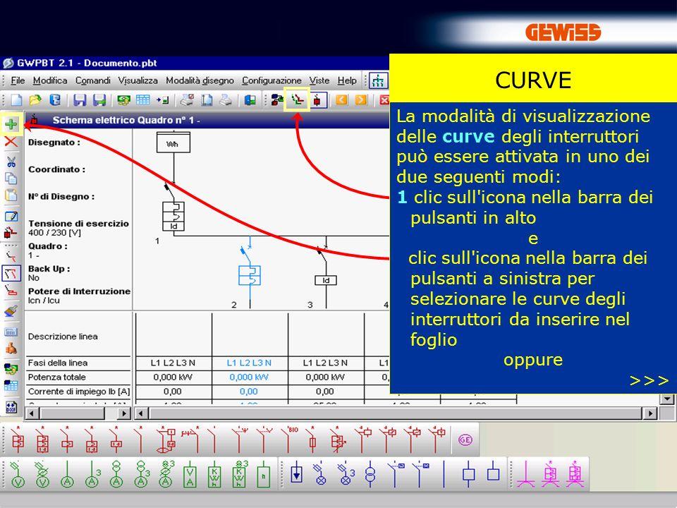 55 CURVE La modalità di visualizzazione delle curve degli interruttori può essere attivata in uno dei due seguenti modi: 1 clic sull'icona nella barra
