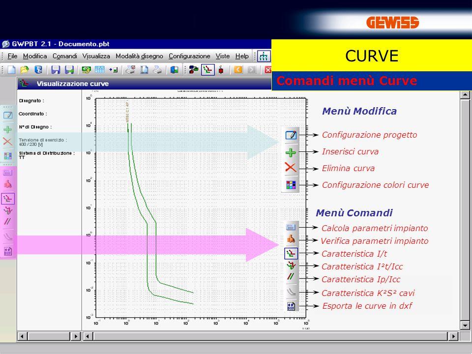 57 Comandi menù Curve Configurazione progetto Inserisci curva Configurazione colori curve Elimina curva Menù Modifica Caratteristica I/t Menù Comandi