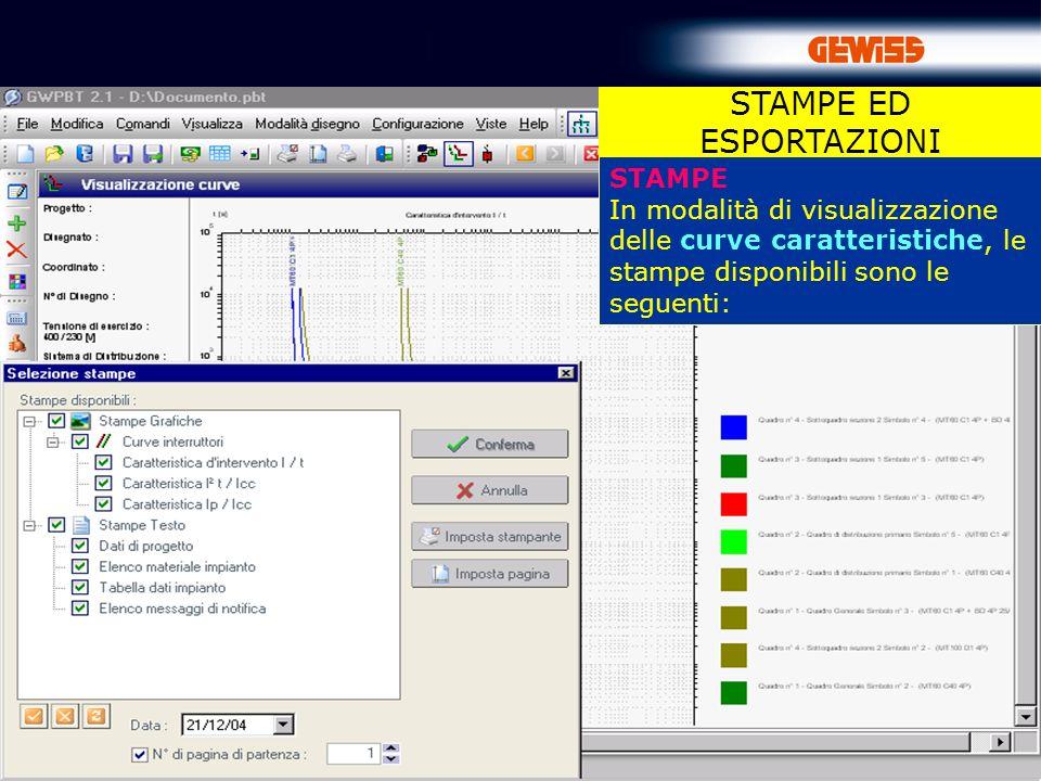 81 STAMPE In modalità di visualizzazione delle curve caratteristiche, le stampe disponibili sono le seguenti: STAMPE ED ESPORTAZIONI