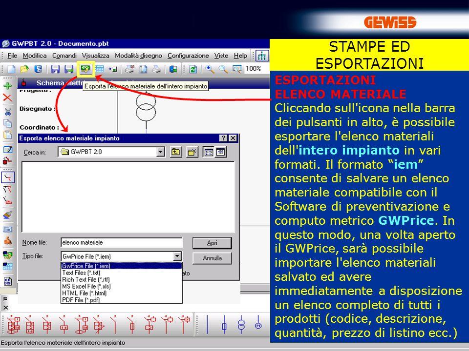87 ESPORTAZIONI ELENCO MATERIALE Cliccando sull'icona nella barra dei pulsanti in alto, è possibile esportare l'elenco materiali dell'intero impianto