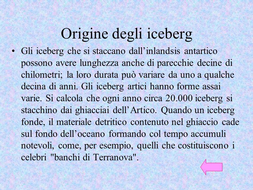 Origine degli iceberg Gli iceberg che si staccano dallinlandsis antartico possono avere lunghezza anche di parecchie decine di chilometri; la loro dur